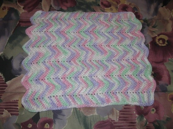 Vintage Miniature Pastel Ripple Afghan For a Doll Christmas Girl Toy Present Gift Stocking Stuffer Cover Coverlet Barbie Birthday