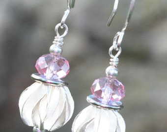 Pink Pleats Earrings