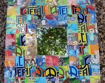 Whimsical, Fun, Colorful Mosaic wood Mirror Frame w/ Recycled Aluminum Peace Tea Cans