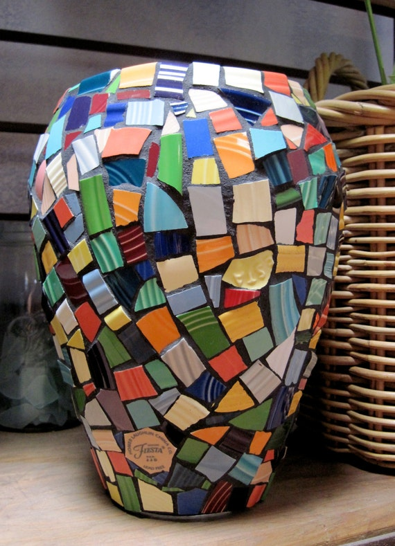 "Handcrafted with Colorful Collectible China 10"" Mosaic tile Vase"