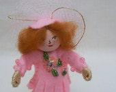 Hanging Ornament, Pink Ballerina Piksee, Felt Art Doll