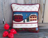 Decorative Pillow - Miniature Winter Pillows - Snowcovered Country - Christmas Holiday Decoration