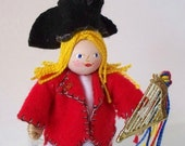 Felt Art Doll Ready for the Parade Patriotic Pixie