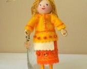 Felt Art Doll - Tangerine Celebration Piksee - Hanging Ornament
