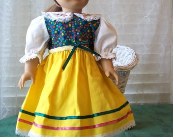 Handmade Doll Clothes, Yellow and Green doll dress fits 18 inch dolls