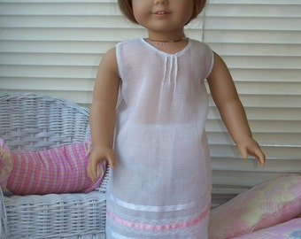 Handmade Doll Clothes Delicate, White Night Gown fits 18 inch dolls, Handmade Doll Pajamas