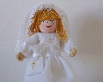 First Communion Girl // Piksee Doll // Felt Art Doll