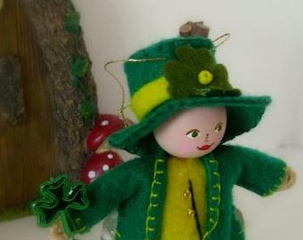 Lester Leprechaun - St Paddys Ornament - felt Art Doll