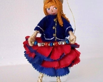 Art Doll July 4th Hanging Ornament Patriotic Colors Flower Girl