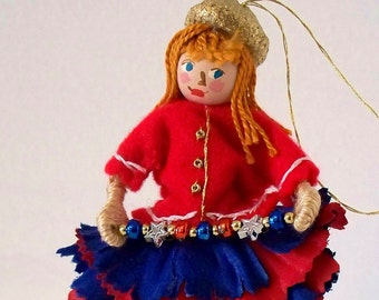 Patriotic Art Doll Stars and Stripes Flower Pixie Holiday ornamnent