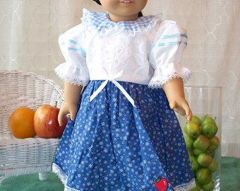 HandmadeDoll Clothes White and Blue Dress fits any 18 inch doll