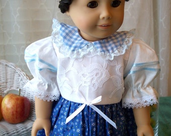 American Girl Doll Clothes White and Blue Dress fits any 18 inch doll