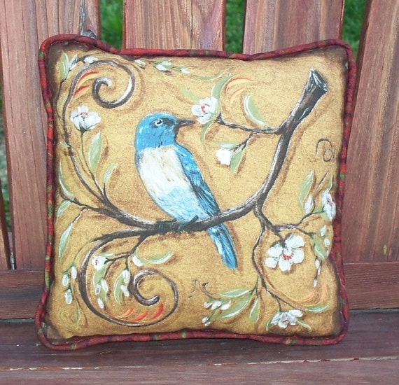 Small Decorative Pillow - quilt Pillow - Bluebird on a cherry tree branch - Holiday ornament