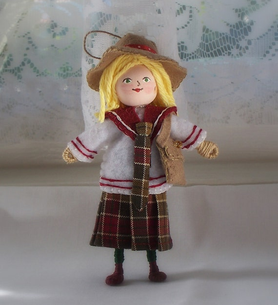 Art Doll Hanging Ornament Back to School Girl in Uniform