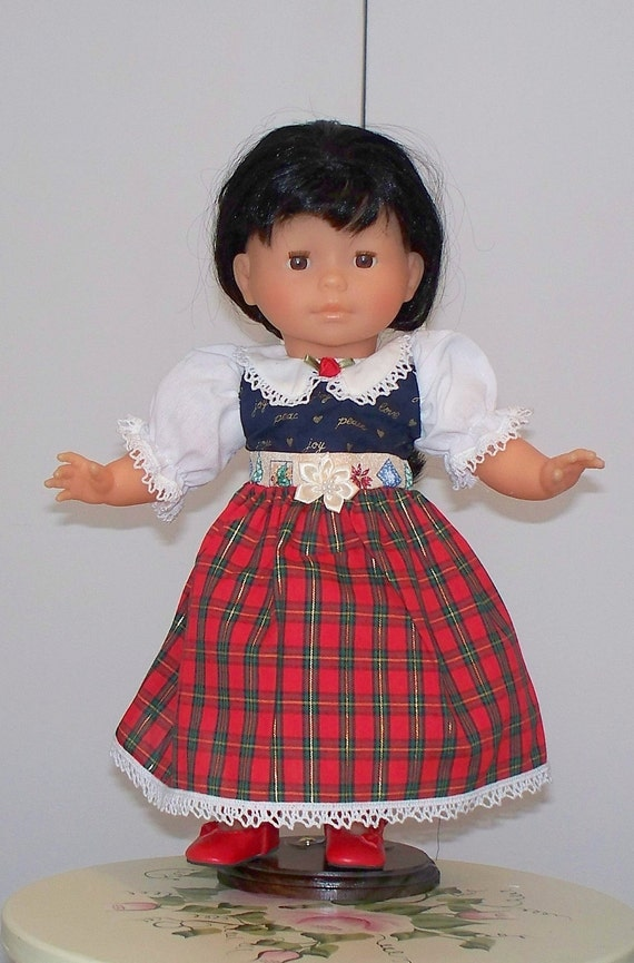 Doll Dress Fits 15 or 16 inch doll Unique Doll Dress Christmas Red Dress