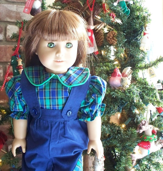 American Girl Doll Dress - 18 inch doll outfit  - Christmas blue overalls