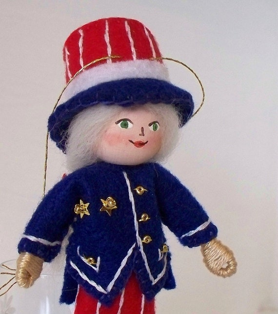 Stars and Stripes Pixie - Indepence Day Felt Art Doll