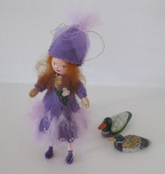 Happy Purple Ballerina Piksee Art Doll - Hanging Ornament