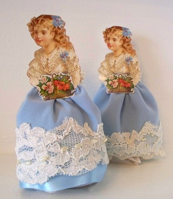 Victorian Girls Dolls - Vintage inspired paper and cloth doll