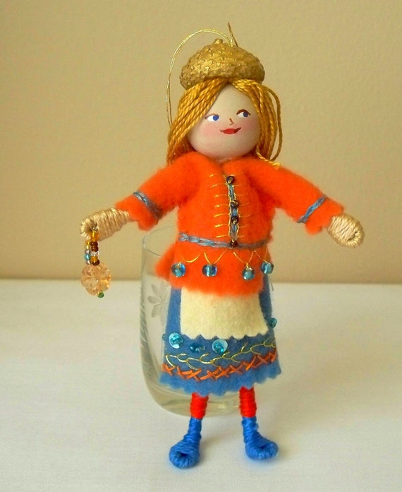 Art Doll and Miniatures - Delicious Tangerine Piksee - Hanging Ornament
