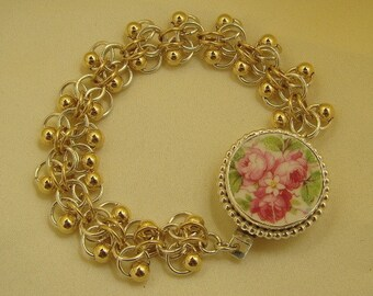 Broken China Sterling Silver and Gold Filled Chain Maille Bracelet