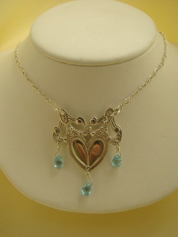 Sterling Silver Spoon and  Blue Topaz Pendant SALE