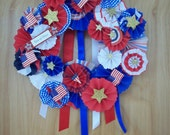 Patriotic Front Door Wreath Memorial Day, Flag Day, 4th of July, Red White and Blue Wreath 10""