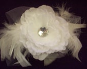 Hair Clip Silk Flower Rhinestone Center Maribou and Tulle