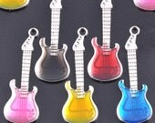 Enamel and Silver Guitar Charm Pendant lot of 5