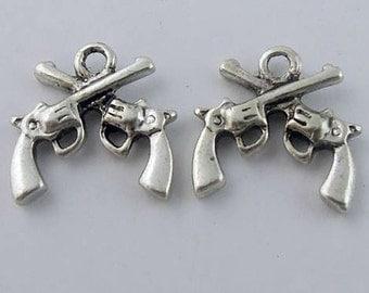 Mini Crossed Pistols Charm lot of 6