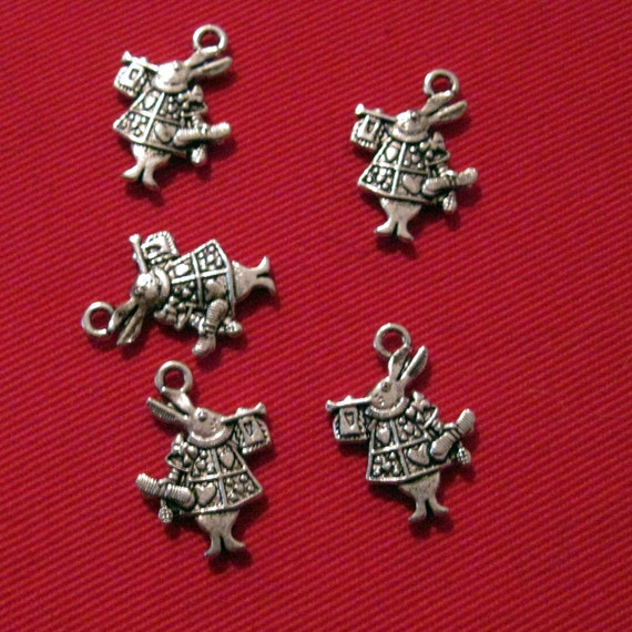 White Rabbit from Alice in Wonderland Charms lot of 10 - LAST CHANCE CLEARANCE