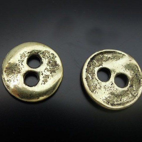 Gold Button Charm lot of 20