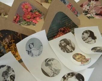 Vintage flowers Handmade envelopes