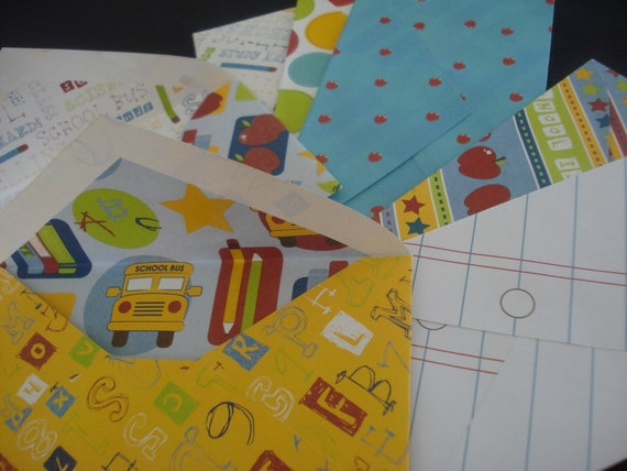 School Days Set of 8 colorful envelopes for mailing needs