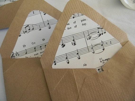 Brown Bag Vintage Music sheet Handmade envelopes and seals
