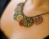 Cranberry Red and Olive Green Shrink Plastic Medallion Charm Necklace