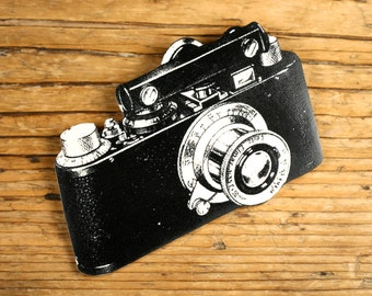 Camera Brooch - Camera Pin - Camera Jewelry - Camera - Black and White Camera - Vintage Camera - Vintage Print - Shrink Plastic - Old Camera