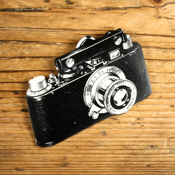 Camera Brooch - Camera Pin - Camera Jewelry - Camera - Black and White Camera - Vintage Camera - Vintage Print - Shrink Plastic - Old Camera