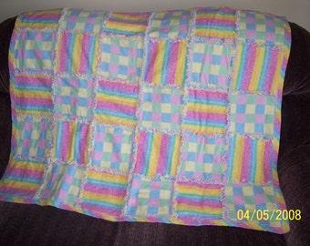 Pastel Frayed Flannel Quilt