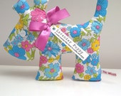Lavender Scented Puppy Dog in Spring Flowers Turquoise and Pink