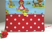 SALE Red Riding Hood Zip Purse, Coin Pouch, Turquoise and Red Spot Fabric