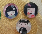 Japanese Kokeshi Doll Magnets in Tin