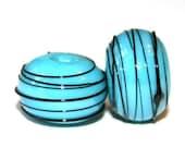 Turquoise Blue Black Thread - Glass Lampwork Bead Pair