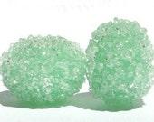 Green Mint Sugar Bead Pair - Lampwork Glass