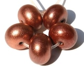Copper Sparkle -  Spacer Beads - Handmade Lampwork Glass