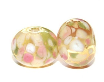 Lemon Grass - Lampwork Bead Pair - Lampwork Glass