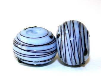 Slate Blue and Black Threaded - Round Lampwork Bead Pair
