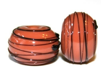 Earth Brown Black Thread - Glass Lampwork Bead Pair