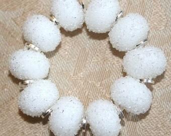 Snowball- Winter - White Sugar Lampwork Beads Christmas