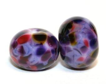 Grape Escape Lampwork Glass Bead Pair - Artist Handmade